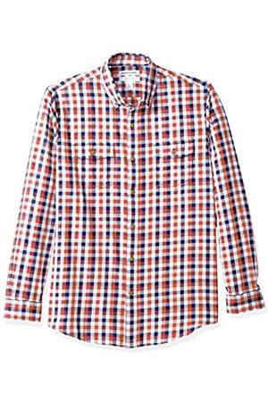 Amazon Camisa de sarga ajustada con dos bolsillos y manga larga para hombre