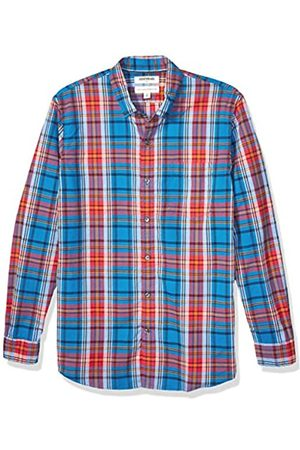 Goodthreads Standard-fit Long-Sleeve Plaid Oxford Shirt Camisa abotonada, Bright Blue Red