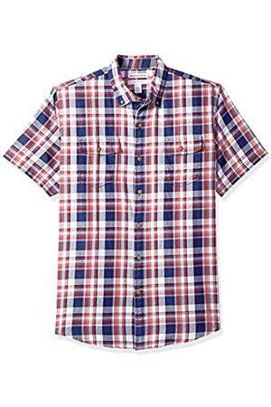 Amazon Camisa regular de sarga con dos bolsillos y manga corta para hombre