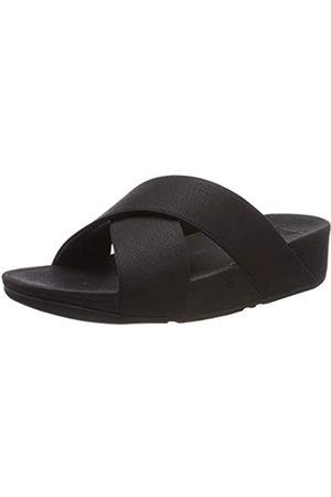 FitFlop Luli Shimmerlux Slides, Sandalias con Punta Abierta para Mujer, (Black 001)