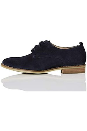 FIND Marca Amazon - FIND Leather Zapatos de Cordones Brogue, (Navy)