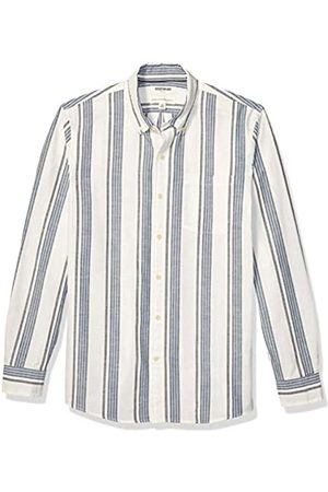 Goodthreads Standard-Fit Long-Sleeve Pattern Chambray Shirt Button-Down-Shirts, White Navy Vertical Stripe