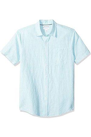 Amazon Camisa de lino a rayas, de manga corta y corte entallado para hombre, aguamarina (Aqua Gingham)