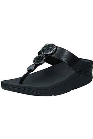 FitFlop Halo Shimmer Toe-Thongs, Sandalias de Punta Descubierta para Mujer, (All Black 090)