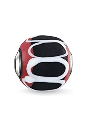 Thomas Sabo Karma K0256-017-11 - Abalorio para Mujer, Color Rojo y Blanco, patrón Negro