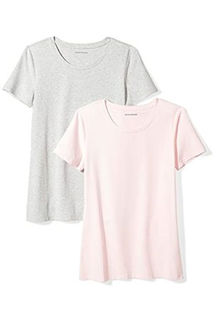 Amazon 2-Pack Short-Sleeve Crewneck Solid T-Shirt Camiseta, Pink/Light Grey Heather)