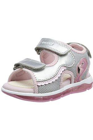 Geox B Sandal Todo Girl B, Sandalias de Punta Descubierta para Bebés, (Silver/Pink C0566)