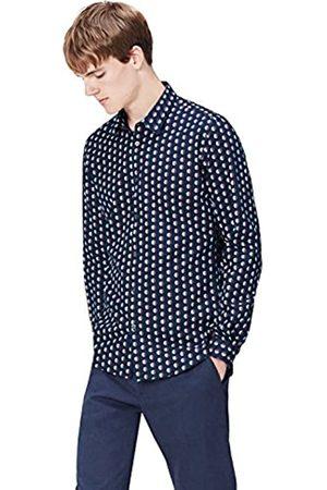 FIND Camisa Entallada de Lunares para Hombre, (Navy)