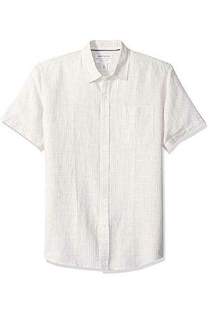 Amazon Camisa a cuadros de lino con manga corta para hombre., Natural Gingham
