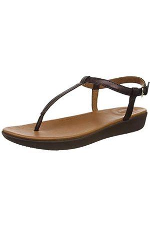 FitFlop Tia Sandal-Leather, Sandalias de Punta Descubierta para Mujer, (Chocolate Metallic 806)