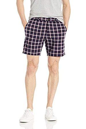 Goodthreads – Pantalón corto de lino elástico con tiro de 17,78 cm para hombre, Navy Red Check