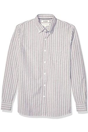 Goodthreads Standard-Fit Long-Sleeve Fashion Stripe Oxford Shirt Button-Down-Shirts, Burgundy Multi