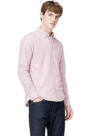 t shirts T-Shirts Camisa de Rayas Entallada con Cuello Óxford para Hombre