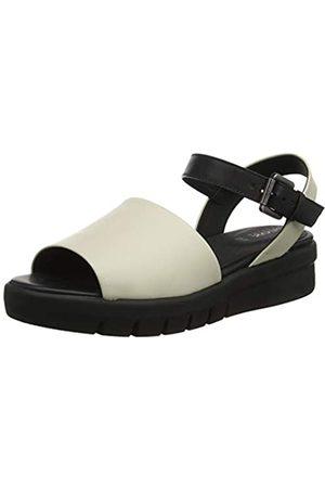 Geox D Wimbley Sandal a, Sandalia con Pulsera para Mujer, Cream/Black C0538