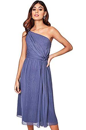 Little Mistress Anaïs Lavender Grey Ring Detail Midi Dress Vestido Fiesta Mujer, Morado 001