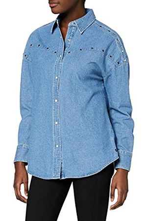 Scotch&Soda Maison AMS Blauw Oversized Denim Shirt with Studs Details Blusa