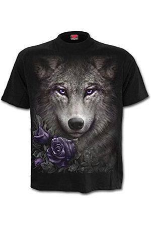 Spiral Wolf Roses-Front Print T-Shirt Camiseta