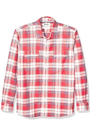 Goodthreads Standard-Fit Long-Sleeve Plaid Twill Shirt Button-Down-Shirts, Red Multi
