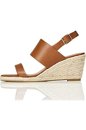 FIND Marca Amazon - Wedge Two Part Sandalias con cuña Tipo Alpargatas, Braun (Pale Tan)