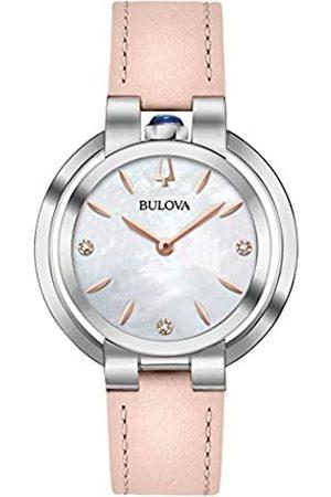 BULOVA Reloj Analógico para Mujer de Cuarzo con Correa en Cuero 96P197