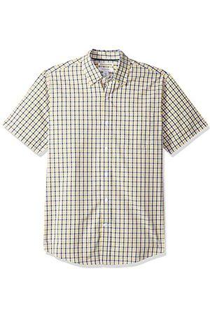 Amazon – Camisa informal de popelín a cuadros de manga corta de corte recto para hombre
