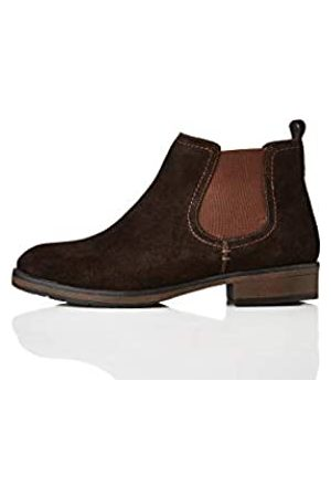 FIND Casual Suede Botas Chelsea, Chocolate