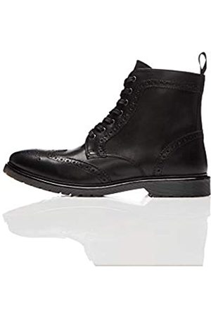 FIND Leather Cleated Brogue Botas Estilo Motero, Black