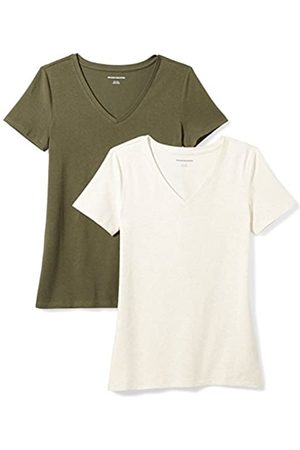 Amazon 2-Pack Short-Sleeve V-Neck Solid T-Shirt Camiseta, Olive/Oatmeal Heather