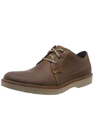 Clarks Vargo Plain, Zapatos de Cordones Derby para Hombre, (Dark Tan Leather)