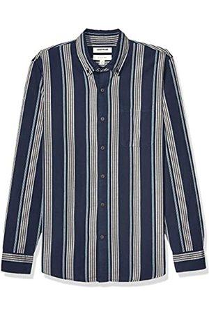 Goodthreads Marca Amazon – – Camisa de manga larga de corte entallado de cambray y raya diplomática para hombre, Navy Red Vertical Stripe