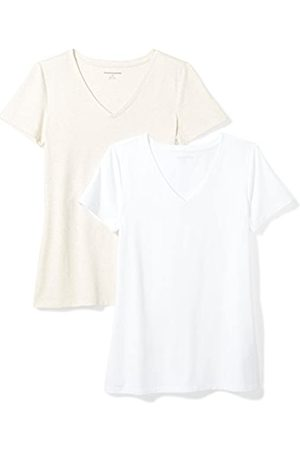 Amazon 2-Pack Short-Sleeve V-Neck Solid T-Shirt Camiseta, Oatmeal Heather/White
