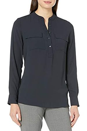 Lark & Ro Long Sleeve Sheer Utility Woven Tunic Top with Band Collar Shirts