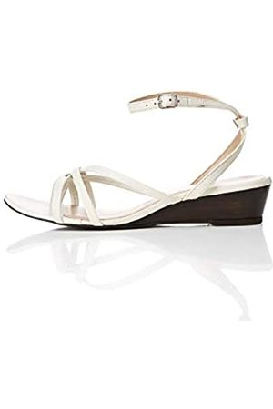 FIND Asymetric Toe Thong Wedge Sandalias con Punta Abierta, Marfil Off/White