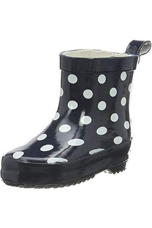 Playshoes Bota de Agua Puntos, Botas de Goma de Caucho Natural para Niñas, (Marine 11)