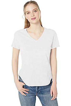 Daily Ritual Marca Amazon - - Camiseta de manga corta enrollable de algodón con cuello en V para mujer