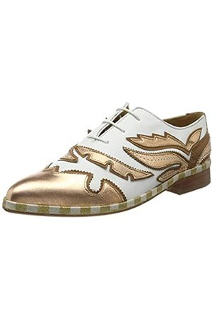 Melvin & Hamilton Jessy 43, Zapatos de Cordones Oxford para Mujer, Rio-White Rose Talca-Design A-Vamp Wing-Salernontanalsl Raw-Natural-Tex Welt-Gold-Lining-Rich Tan Collar