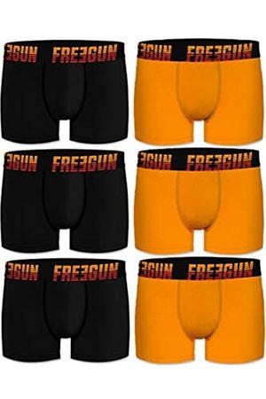 Freegun PK1548-M Talla M: Set 6 Boxers básicos, 95% algodón 5% Elastano, Multicolor Negro/Amarillo, 6p Pk1548