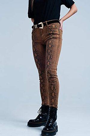 Q2 Pantalon Pitillo con Estampado de Serpiente