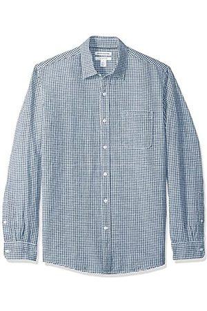 Amazon Camisa regular de lino a cuadros con manga larga para hombre