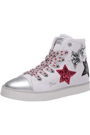 Geox Jr Ciak Girl D, Zapatillas Altas para Niñas, (White/Silver C0007)