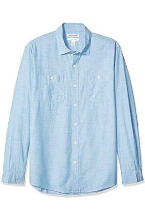 Amazon Camisa de cambray con manga larga y corte recto para hombre