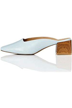 FIND Marca Amazon - Close Toe Mule Zapatos de tacón con Punta Cerrada, Blau (Pale Blue)