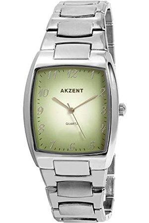 Akzent SS7626000025 - Reloj analógico de caballero de cuarzo con correa de aleación plateada - sumergible a 30 metros