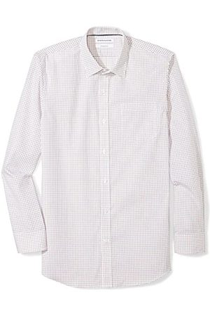 Amazon Slim-fit Wrinkle-Resistant Long-Sleeve Plaid Dress Shirt Camisa, (Red Tattersall