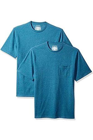 Amazon Pack de 2 camisetas de manga corta y corte holgado con cuello redondo y bolsillo para hombre