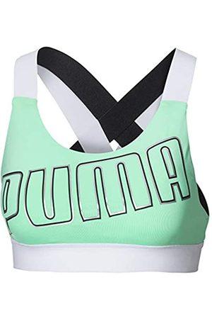 Puma Feel It W Mid Impact Sujetador Deportivo, Mujer, (Green Glimmer White)