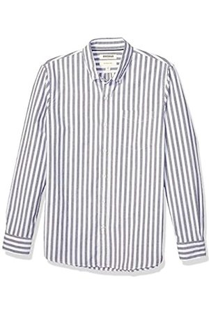 Goodthreads Slim-Fit Long-Sleeve Fashion Stripe Oxford Shirt Button-Down-Shirts, Navy Wide