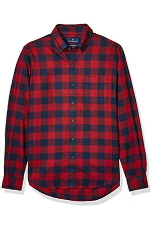 Buttoned Down Slim Fit Supima Cotton Plaid Flannel Sport Shirt button-down-shirts, Red/Navy Buffalo