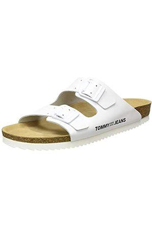 Tommy Hilfiger Color Block Flat Sandal, Sandalias Punta Cerrada para Mujer, (White Ybs)