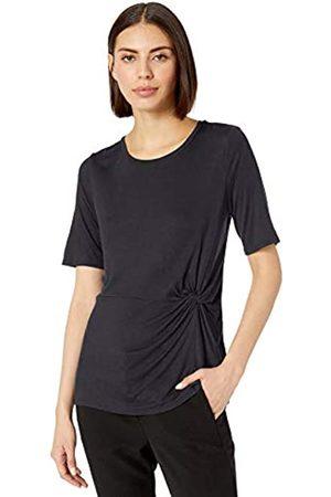 Lark & Ro Marca Amazon - - Camiseta de punto de manga corta con detalle de nudo lateral y cuello redondo para mujer